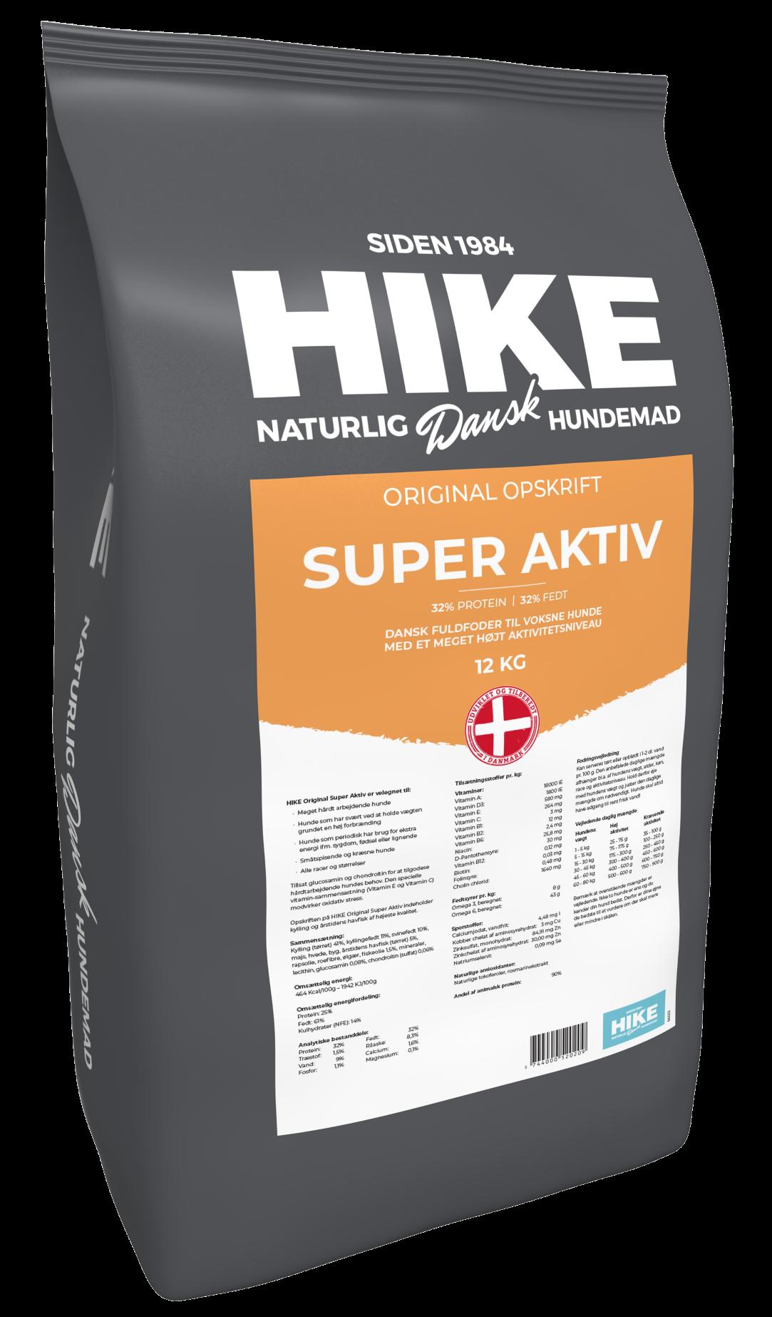 HIKE ORIGINAL Super Aktiv 32/32 hundemad 12 kg
