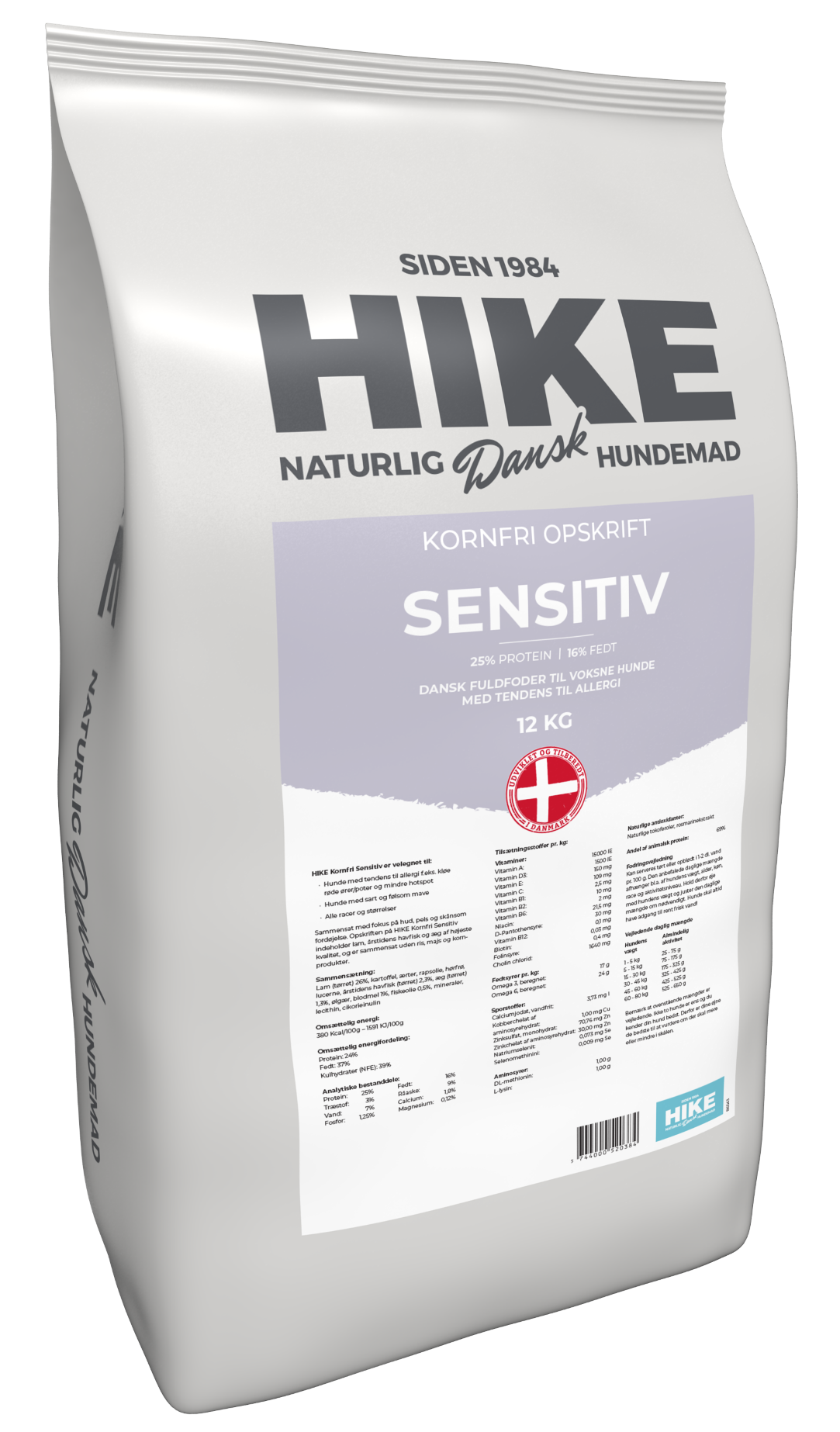 HIKE NATURE Sensitive 25/16 kornfri hundemad 12 kg
